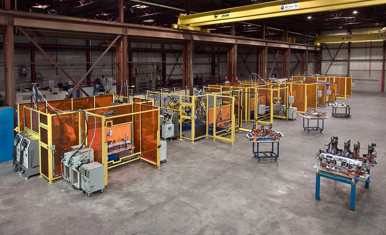 36 Tool, 10 Cell Robotic Spot Weld Line